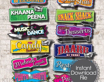 Bollywood Party Direction Signs - Set of 12 - Bollywood Style Party, Desi, Indian, Instant Download, Printable, Print your own, DIY Signs