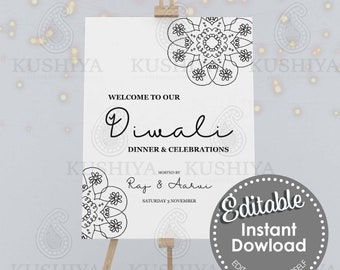 Diwali Party Welcome Sign Simple Mandala Design - Editable, Digital File, Instant Download, Printable, Board, Edit Yourself, Print Your Own