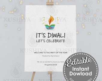 Let's Celebrate Diwali Welcome Sign - Editable, Digital File, Instant Download, Printable, Party Board, Edit Yourself, Print Your Own, DIY