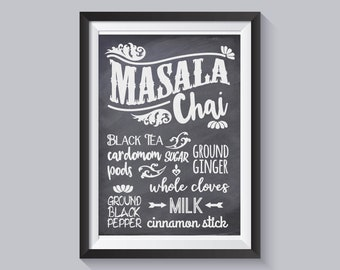 Masala Chai Kitchen Print - Unique Gift, Indian Tea Lover, Home Decor, Dining Room, Wall Art, Chalk Effect, Ethnic Inspired,  UNFRAMED
