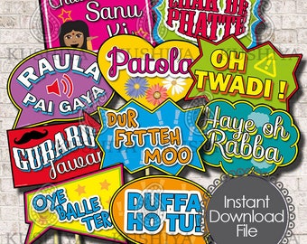 Desi Punjabi Wording Photo Props  - Set of 10 - Desi Style, Party Signs, Wedding, Instant Download, Printable, Print your own, DIY Props.