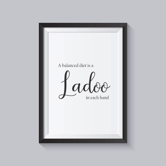 Ladoo - A Balanced Diet print, Indian sweet lover, Kitchen gift, Kitchen  wall print, Mother's Day, Home decor, Ethnic inspired, UNFRAMED