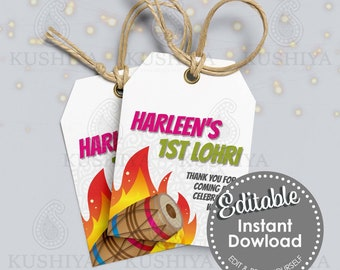 First Lohri Party Gift/Favour Tags - Editable, Personalised, Digital File, Instant Download, Printable, Edit Yourself, Print Your Own, DIY
