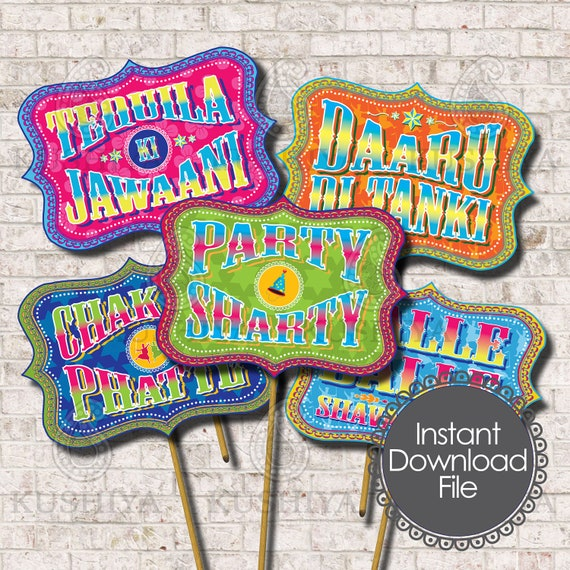 Desi Style Photo Booth Props - Indian Themed, Party Signs, Balle Balle,  Instant Download, Printable, Print your own, PDF File, Set of 5