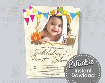 Baby's First Lohri Party Invitation-  Add Your Own Picture, Edit Yourself, Digital File, Instant Download, Printable Invite, Print Your Own.
