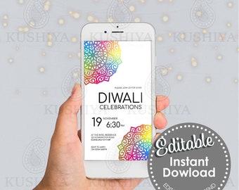 Colourful Mandala Diwali Mobile Invitation - Editable, Digital File, Electronic, Instant Download, Phone Invite, Edit Yourself, DIY