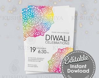 Colourful Mandala Diwali Invitation -  Editable, Digital File, Instant Download, Printable Invite, Edit Yourself, Print Your Own, DIY