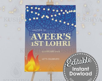 Blue Lohri Party Welcome Sign - Editable, Custom, Digital File, Modern Design, Instant Download, Printable, Edit Yourself, Print Your Own