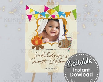 Baby's First Lohri Party Welcome Sign - Editable, Custom, Digital File, Modern, Instant Download, Printable, Edit Yourself, Print Your Own