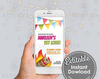 First Lohri Party Mobile Invitation - Editable, Baby Girl or Boy, Digital File, Custom, Electronic, Phone Invite, Modern, Customise Yourself