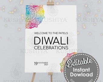 Colourful Mandala Diwali Party Welcome Sign - Editable, Digital File, Instant Download, Printable, Board, Edit Yourself, Print Your Own, DIY