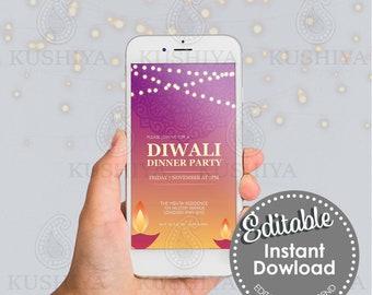 Diwali Dinner Party Mobile Invitation - Pink Diya, Editable, Digital File, Instant Download, Electronic, Phone Invite, Edit Yourself, DIY
