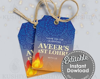 Blue Lohri Party Gift/Favour Tags -Custom, Editable, Personalised, Digital File, Instant Download, Printable, Edit Yourself, Print Your Own.