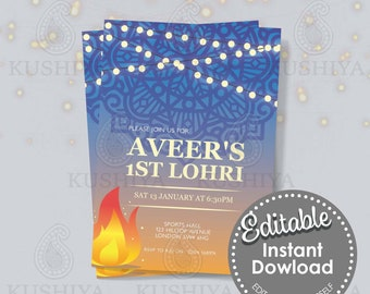 Blue Lohri Party Invitation-  Editable, Baby Boy, Newly Weds, Edit Yourself, Digital File, Instant Download, Printable Invite, Print Own