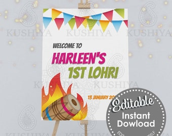 First Lohri Party Welcome Sign - Editable, Custom, Digital File, Modern Design, Instant Download, Printable, Edit Yourself, Print Your Own