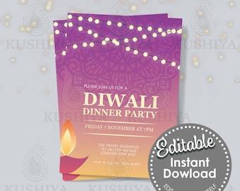 Diwali Dinner Party Invitation - Pink Diya, Editable, Digital File, Instant Download, Printable Invite, Edit Yourself, Print Your Own, DIY