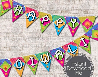 Happy Diwali Colourful Bunting Flags - Diwali Decoration, Deepavali, Diwali Banner, Party, Instant Download, Print Your Own, DIY Decoration