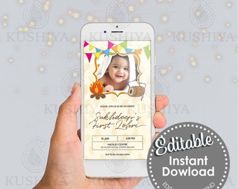 Baby's First Lohri Party Mobile Invitation - Editable, Baby Girl or Boy, Digital File, Custom, Electronic, Phone Invite, Customise Yourself.