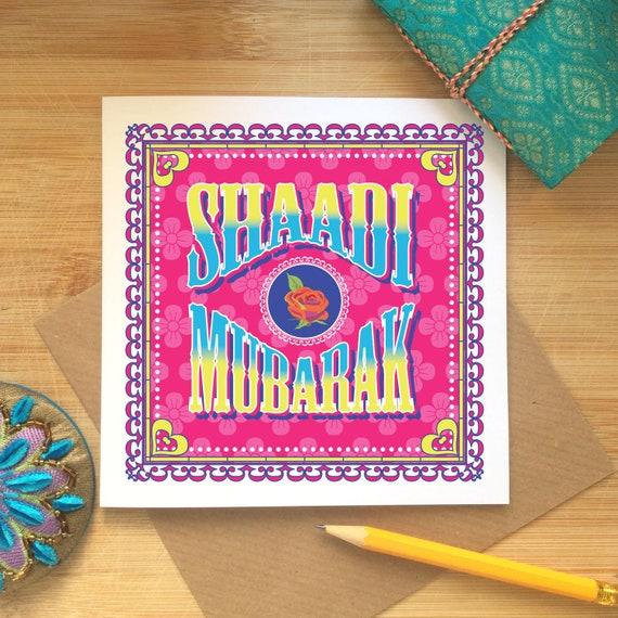 Indische Hochzeit Gratulationskarte Shaadi Mubarak Muslim Islamisch Sikh Hindu Hochzeit Indische Lkw Kunst Inspiriert Urdu Desi Ethnische