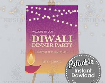 Diwali Dinner Party Welcome Sign - Pink Diya, Editable, Digital File, Instant Download, Printable, Board, Edit Yourself, Print Your Own, DIY