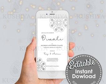 Diwali Party Mobile Invitation Simple Mandala Design -Editable, Digital File, Instant Download, Electronic, Phone Invite, Edit Yourself, DIY