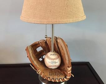 Baseball Themed Ball & Glove Table Lamp