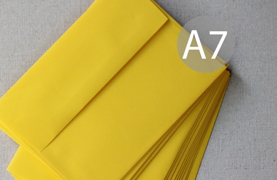 25 5x7 bright yellow envelopes a7 yellow envelopes true etsy