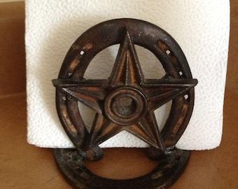 Horseshoe Napkin Holder - Rustic Decor - Western Home Decor - Cowboy Decor