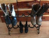 Boot Rack-Horseshoe, Boot Rack - 6 Pair, Boot Storage, Cowboy Boot Organizer, Western Decor, Rustic Boot Rack