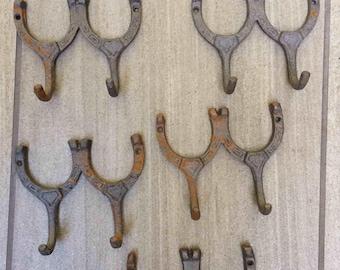 Horseshoe Hooks-Double Horseshoes, Cowboy Decor, Horseshoe Art, Western Wall Decor, Western Decor