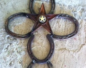 Horseshoe Cross with Star and Concho, Rustic Cross, Western Cross, Western Wall Art, Horse Shoe Art - Hand made