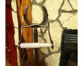 Toilet Paper Holder with Removable Horseshoe - Standing - Toilet Paper Stand, Horseshoe Decor, Western Bathroom Decor, Rustic Decor