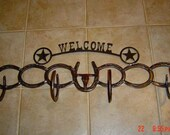 Horseshoe Coat & Hat Rack - Western Welcome Sign - Rustic Decor - Western Home Decor - Cowboy Decor