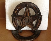 Horseshoe napkin holder, Metal napkin holder, Western kitchen accessory, Rustic kitchen decor,