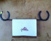 Towel holder-Horseshoe, Horse Shoe towel rack, Rustic Towel rack, Rustic Bathroom Decor, Western Kitchen - Handmade