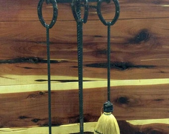 Rustic fireplace set, Fire place tool set - Includes 3 tool holder - Western Decor, Western home decor, Cowboy Decor