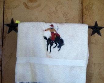 Towel Holder-Star, Rustic Towel rack, Western Decor, Rustic Decor, Western Bathroom Decor - Hand made