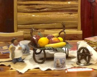 Fruit Disk with Horseshoe Legs, Fruit Bowl, Fruit Basket, Rustic fruit bowl, Western Kitchen Decor