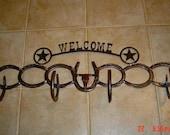 Horseshoe Coat & Hat Rack - Western Welcome Sign - Rustic Decor - Western Home Decor - Cowboy Decor
