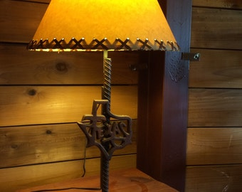 Texas lamp shade etsy table lamp with texas outline on star base rustic lamp western lamp desk aloadofball Gallery