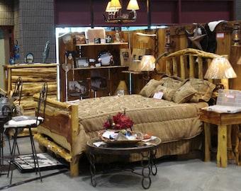 Cedar Bed - Full - Queen - Rustic Bed, Western Bed Frame, Cowboy Living, Farmhouse Decor, Art Decor Furniture