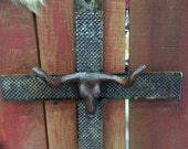 Rasp cross with star, Star with concho or steer head - Western decor, cowboy cross, Cross decoration, Cross art, Gift for her - Hand made