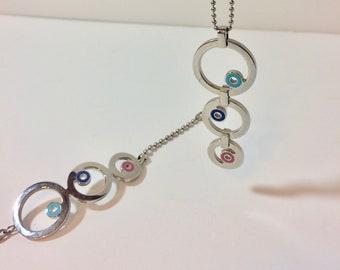 Vintage Swatch Circles Necklace and Bracelet Set