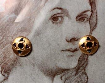 Bold Vintage Byzantine Style Pierced Earrings by Napier