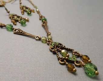 Victorian Geometric Filigree Necklace and Earrings Set, Czech Glass, Antique Bronze, # 2053