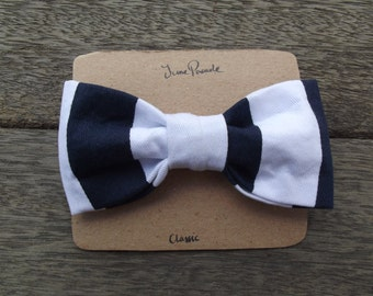 Navy Blue/White Striped Adjustable Adult Bow Tie