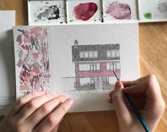 Personalised House Illustration - Unique, Hand Drawn and Painted