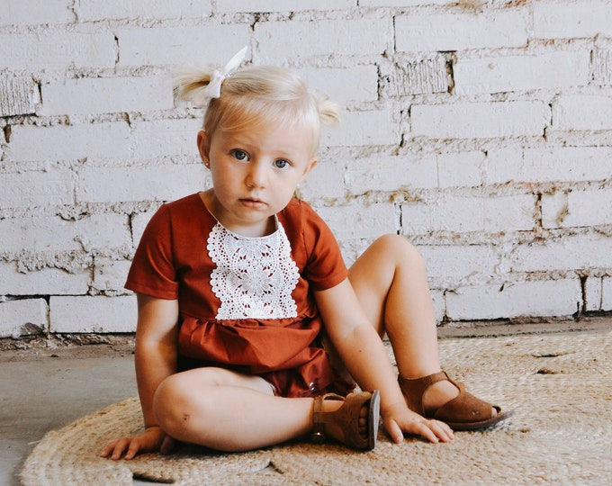 Featured listing image: Lainey Romper,   Bubble Romper, Lace Detail Romper, Button Back, Toddler Romper