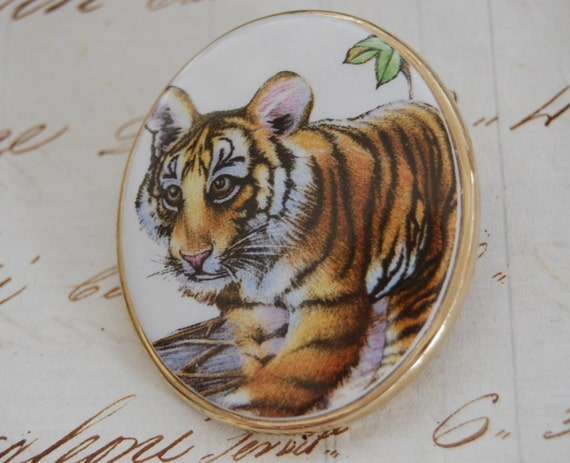 Beautiful Vintage Porcelain Painted Baby Tiger Bro