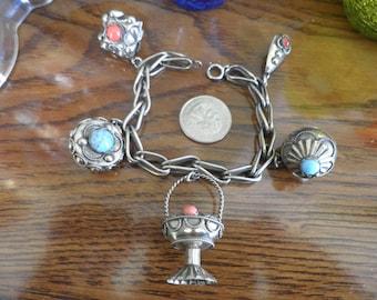 SALE!! 30% offVintage Estruscan Silver 800 Charm Bracelet With 5 Charms